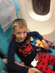 Nate settling in on the plane